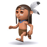 3d Native American Indian running Royalty Free Stock Photo