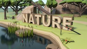 3D Nature Low poly land scene with popup trees and rocks.
