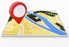 3d navigator map and pointer marker on city. Stock Photo
