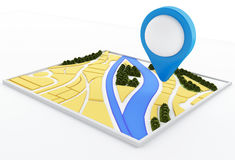 3d navigator map and pointer marker on city. Stock Image