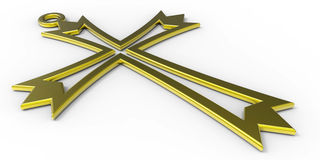 3D necklace cross. 3D illustration of a golden cross  on a white background Royalty Free Stock Photo