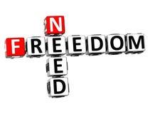 3D Need Freedom Crossword Stock Photo