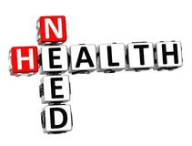 3D Need Health Crossword. On white background Royalty Free Stock Image
