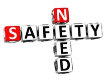 3D Need Safety Crossword. On white background Royalty Free Stock Images