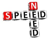 3D Need Speed Crossword Royalty Free Stock Photo