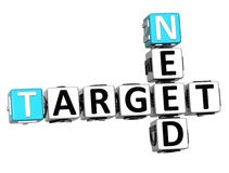 3D Need Target Crossword cube words. On white background Royalty Free Stock Images