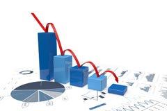 3d negative bar Graphs Stock Images
