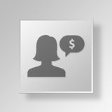 3D negotiation icon Business Concept. 3D Symbol Gray Square negotiation icon Business Concept Stock Photography