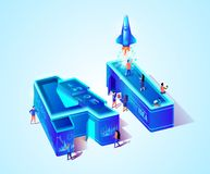 3d Neon AI Isometric Letter and Scientist People stock illustration