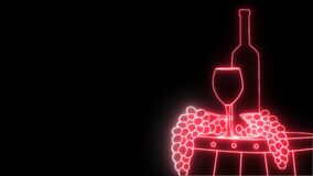 2d neon animation on alfa channel, bottle of red wine, wineglass and grape branch on wooden barrel. Concept of alcohol