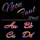 3D Neon Geleide Doopvont Vloeibaar Matte Rounded Type Buis het Hand-Drawn Van letters voorzien Veelkleurige Ultraviolette Kleuren Stock Illustratie