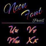 3D Neon Geleide Doopvont Vloeibaar Matte Rounded Type Buis het Hand-Drawn Van letters voorzien Veelkleurige Ultraviolette Kleuren Royalty-vrije Illustratie