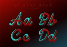 3D Neon Geleide Doopvont Vloeibaar Matte Rounded Type Gezette neonbel vector illustratie