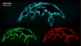 3D Neon Globe Map. Digital Futuristic Design. Vector Illustation vector illustration