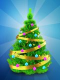 3d neon green Christmas tree over blue. 3d illustration of neon green Christmas tree with golden ribbon over blue background Stock Photo