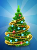 3d neon green Christmas tree over blue. 3d illustration of neon green Christmas tree with golden tinsel over blue background Stock Images