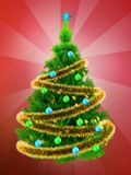3d neon green Christmas tree over red. 3d illustration of neon green Christmas tree with golden tinsel over red background Stock Photography