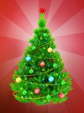 3d neon green Christmas tree over red. 3d illustration of neon green Christmas tree with yellow tinsel over red background Stock Photography
