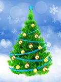 3d neon green Christmas tree over snow. 3d illustration of neon green Christmas tree with blue ribbons over snow background Royalty Free Stock Photos