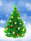 3d neon green Christmas tree over snow. 3d illustration of neon green Christmas tree with tinsels over snow background Royalty Free Stock Photography