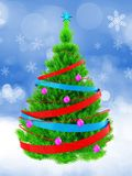 3d neon green Christmas tree over snow. 3d illustration of neon green Christmas tree with ribbons over snow background Stock Photos