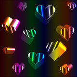 3D neon hearts. Cheerful neon hearts falling or floating Stock Photos