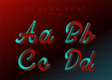 3D Neon Led Font. Liquid Matte Rounded Type. Neon Bubble Typeset. With Painted Letters. Tube Hand-Drawn Lettering. Typography for Music Poster, Sale Banner Stock Photos