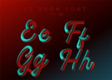 3D Neon Led Font. Liquid Matte Rounded Type. Neon Bubble Typeset. With Painted Letters. Tube Hand-Drawn Lettering. Typography for Music Poster, Sale Banner Stock Images