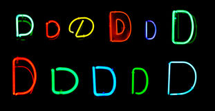 D Neon Letters. Neon letters D collected from neon signs for design elements Stock Photos