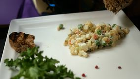 D?ner savoureux Salade traditionnelle de consommation humaine pour les peuples slavic Olivier ou salade avec les légumes et la vi banque de vidéos