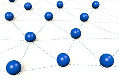 3D network concept... Horizontal view of 3D blue spheres - great for many business topics Royalty Free Stock Photo