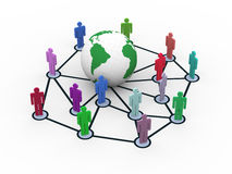 3d network concept. 3d rendering of people network around globe. Concept of global business network Royalty Free Stock Photography