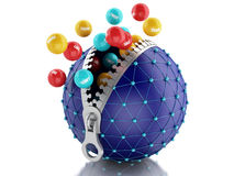 3d Network globe with zipper. Network Communications concept. 3d renderer image. Network globe with zipper open and inside color balls with internet words Royalty Free Stock Photography