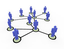 3d network of people. 3d illustratin of connected business people network Royalty Free Stock Images