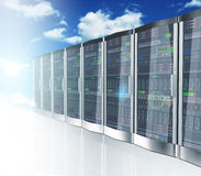 3d network servers datacenter and sky cloud background. 3d rendering of cloud computing and computer networking concept. Rows of network servers on blue sky Stock Images