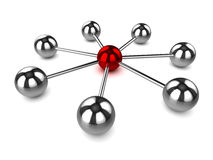 3d Network of steel balls Stock Photography