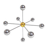 3d network structure concept with gold sphere in the center isolated on white. Background with shadow. 3D rendering Royalty Free Stock Images