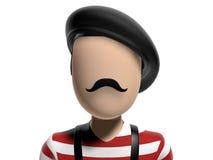 3D Neutraal frenchy karakter Royalty-vrije Stock Foto's