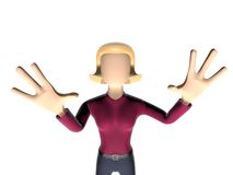 3D Neutral lady character afraid Royalty Free Stock Image