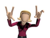 3D Neutral lady character in a cool posture Royalty Free Stock Photo