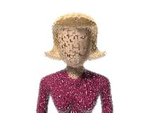 3D Neutral lady character cracked Stock Image