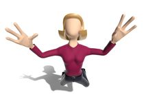 3D Neutral lady character flying in the sky Royalty Free Stock Image