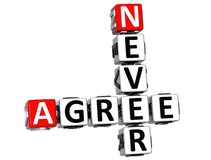 3D Never Agree Crossword Royalty Free Stock Photography