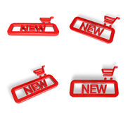 3D NEW icons and Shopping search box. 3D Icon Design Series. Royalty Free Stock Photos