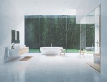 3D new modern zen bathroom with tropic plants. 3d rendering royalty free stock images