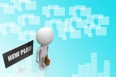 3d new plan concept Illustration Royalty Free Stock Photography