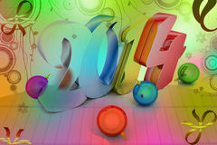 3d New Year 2014. New year 2014 in attractive colour background Royalty Free Stock Photography