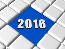 3d new year 2016 in boxes. 3d ciphers 2016 over blue between grey boxes, holiday new year concept Stock Photos