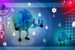 3d New Year 2014 concept with Earth globe. In colour background vector illustration
