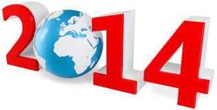 3d New Year 2014 concept with Earth globe. On white background Stock Illustration